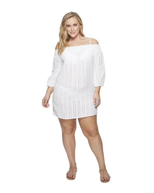 Lauren by Ralph Lauren - White Plus Size Dobby Smocked Off The Shoulder Tunic Cover-up - Lyst