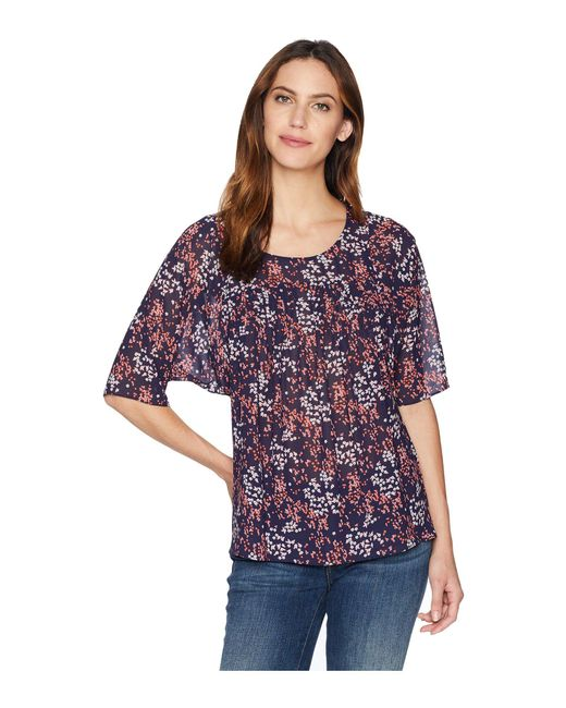 MICHAEL Michael Kors - Blue Scattered Blooms Top (true Navy/bright Blush) Women's Clothing - Lyst