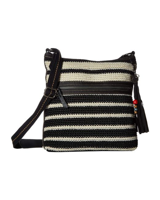 The Sak - Lucia Crochet Crossbody (black white Stripe) Cross Body Handbags  ... 6466737ea0115