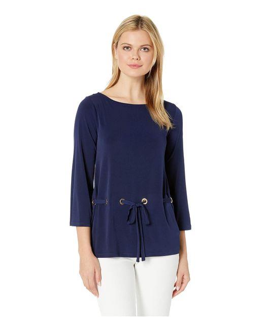 ca300709ee5ab MICHAEL Michael Kors - Blue Grommet Tie Thru Top (black) Women s Clothing -  Lyst ...