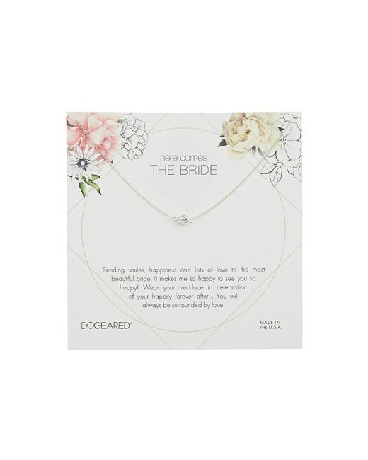 Dogeared - Metallic Here Comes The Bride Flower Card Pave Sparkle Ball Necklace (sterling Silver) Necklace - Lyst