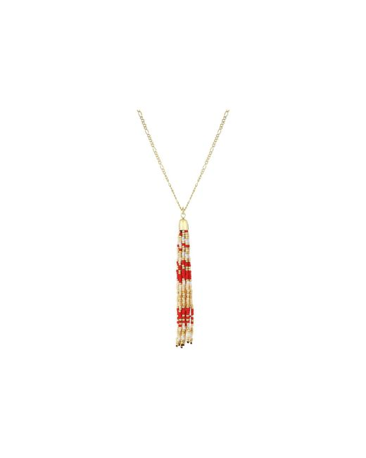 French Connection - Beaded Tassel Pendant 29 Necklace (red) Necklace - Lyst