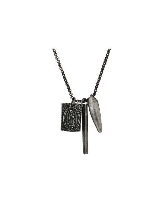Steve Madden - Metallic Stainless Steel 24 Religious Bar Charm Rolo Chain Necklace (silver) Necklace for Men - Lyst
