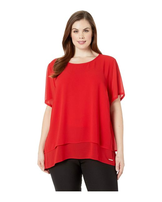 28568e2660aba MICHAEL Michael Kors - Red Plus Size Back Cut Out Short Sleeve Top (true  Navy ...