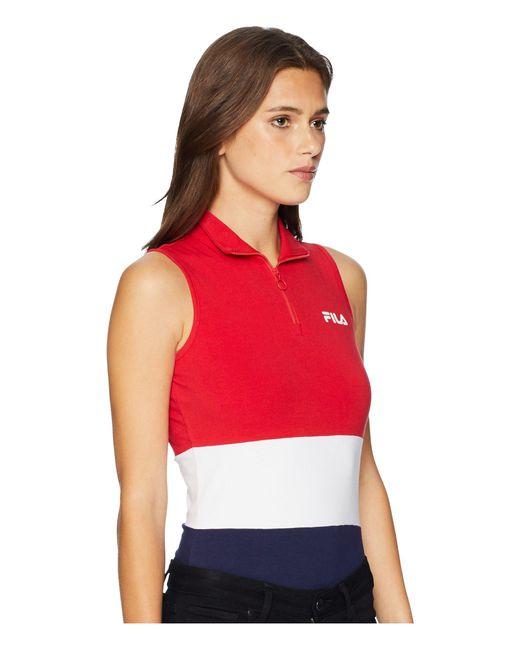 4ad888dcee3 ... Fila - Bianca Bodysuit (skyway navy rio Red) Women s Jumpsuit   Rompers  ...
