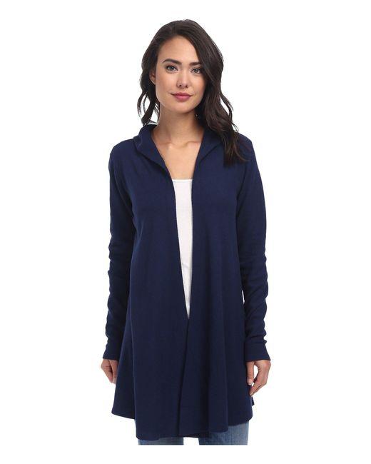 Allen Allen - Blue Hooded Open Cardigan (black) Women's Sweater - Lyst