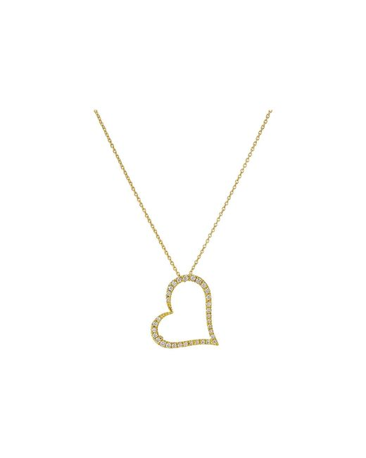 Roberto Coin - Tiny Treasures 18k Yellow Gold Slanted Open Heart Necklace (yellow) Necklace - Lyst
