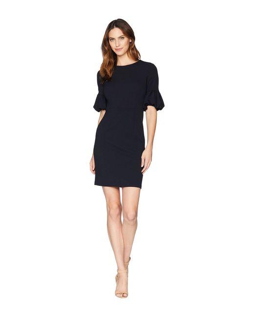 Donna Morgan - Blue Crepe Sheath Dress With Lantern Sleeve (clear Sky) Women's Dress - Lyst