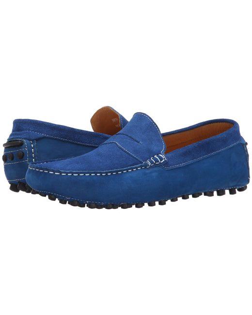 Massimo Matteo - Blue Suede Nubuck Penny (castor) Men's Slip On Shoes for Men - Lyst