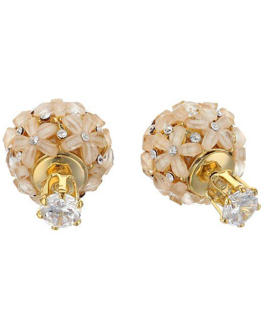 Nina - Metallic Front To Back Flower Ball Earrings (gold/white Cz) Earring - Lyst
