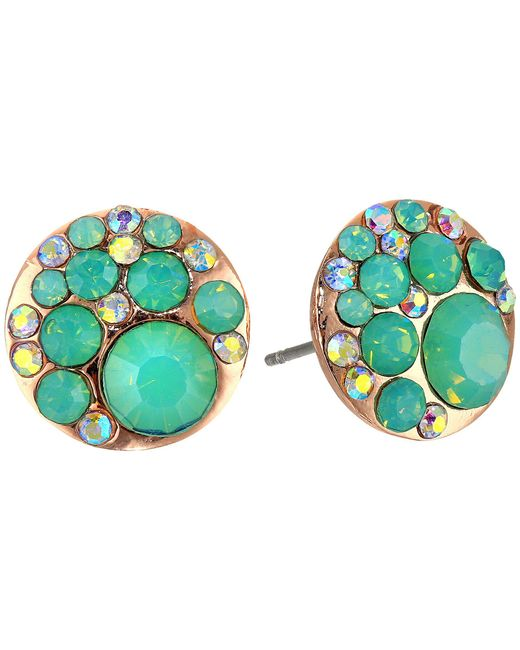 Betsey Johnson - Blue & Rose Gold Boost Crystal Stud Earrings - Lyst