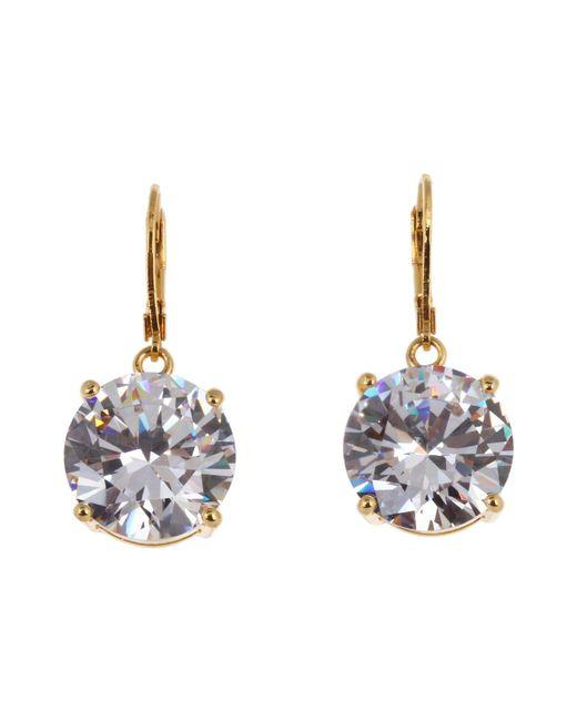 Betsey Johnson - Metallic Drop Crystal Earrings (gold/crystal) Earring - Lyst