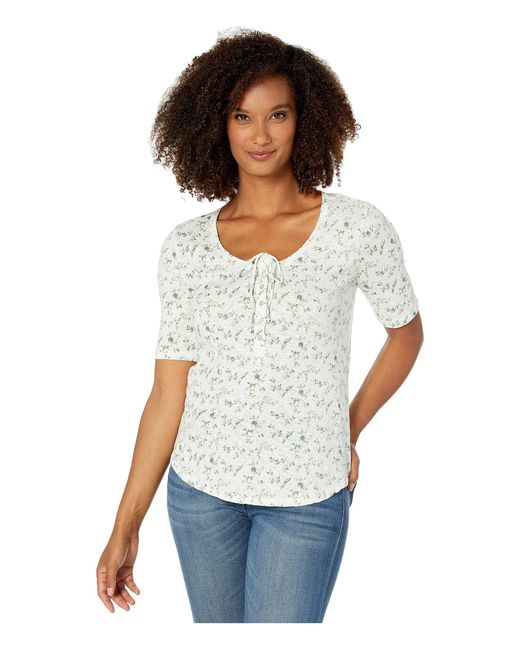 Lucky Brand White 1/2 Sleeve Floral Top