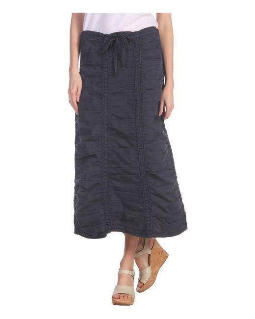 XCVI | Blue Stretch Poplin Double Shirred Panel Skirt | Lyst