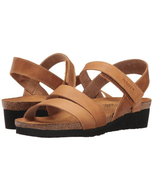 d0fee015f03f Naot - Brown Kayla (black Luster Leather) Women s Sandals - Lyst ...