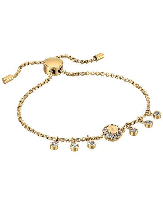 Michael Kors - Metallic Logo Tone And Crystal Slider Bracelet (gold) Bracelet - Lyst