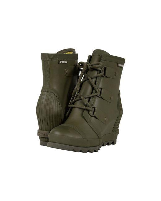 Sorel - Green Joan Rain Wedge (black/sea Salt) Women's Rain Boots - Lyst