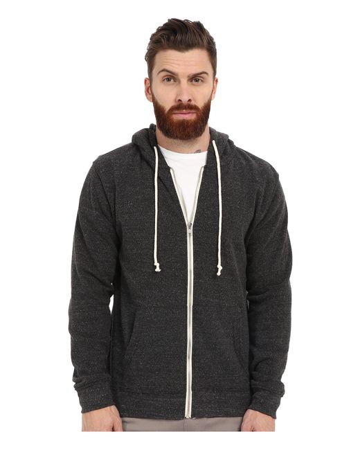 Threads For Thought - Black Triblend Zip Front Hoodie (midnight) Men's Sweatshirt for Men - Lyst
