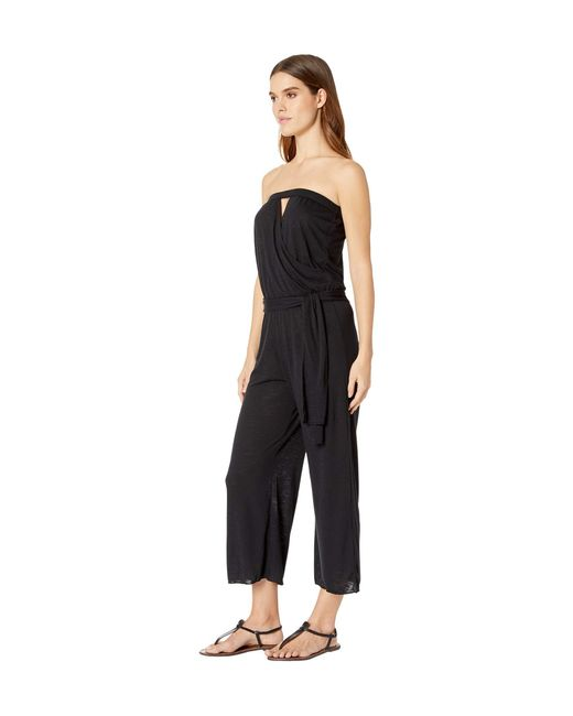 cf70275faa978 ... Becca - Black Breezy Cropped Bandeau Swimsuit Cover Up Jumpsuit - Lyst  ...
