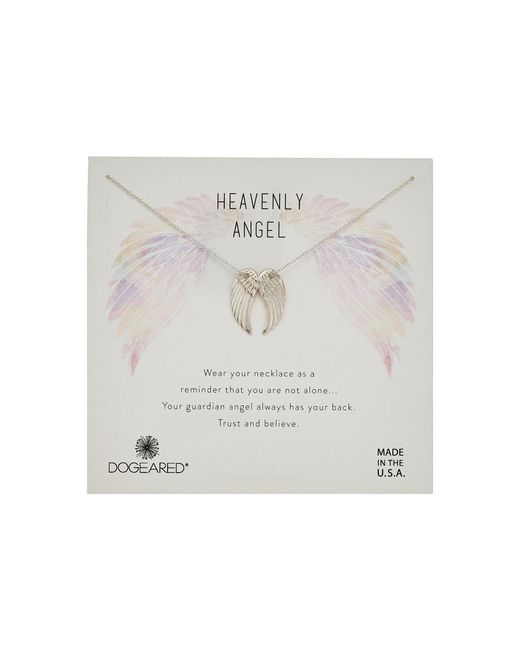 Dogeared - Metallic Heavenly Angel, Slide Through Angel Wing Necklace (sterling Silver) Necklace - Lyst