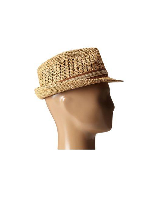bc3ea4d53bd79 ... Tommy Bahama - Brown Vent Crochet Raffia Fedora (tea 1) Fedora Hats for  Men ...