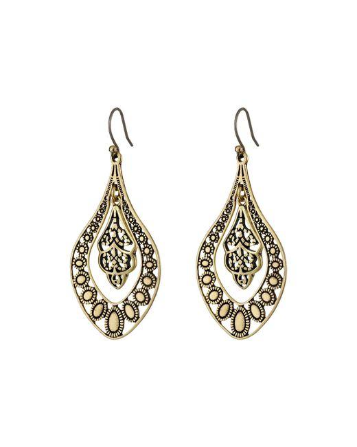 Lucky Brand - Metallic Sahara Dust Filligree Oblong Earring - Lyst