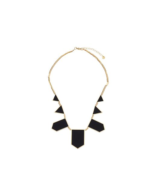 House of Harlow 1960 | Yellow Plated Five Station Black Leather Necklace | Lyst