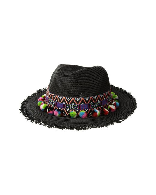 San Diego Hat Company - Black Ubf1111 Fedora With Multicolor Pom (natural) Fedora Hats - Lyst