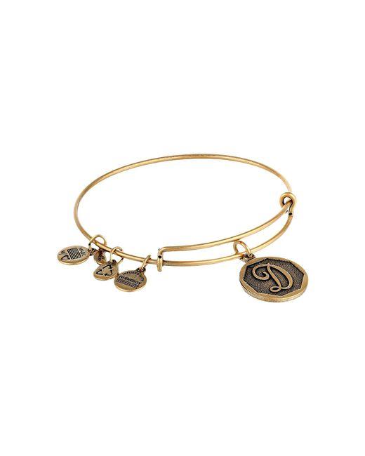 ALEX AND ANI - Metallic Initial D Charm Bangle (rafaelian Gold Finish) Bracelet - Lyst