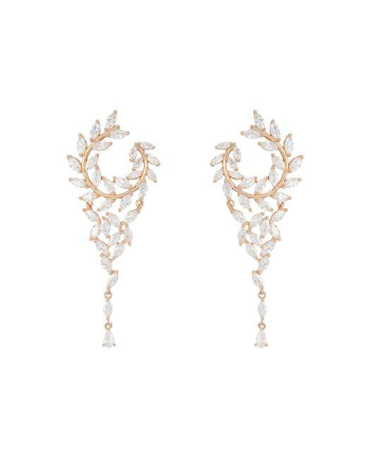 Nina - Multicolor Fern Front/back Chandelier Earrings (rhodium/white Cz) Earring - Lyst