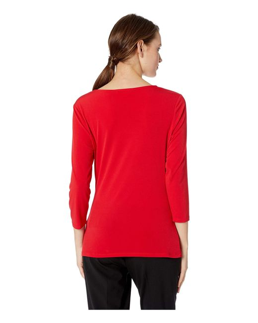 10aaeefb ... Calvin Klein - Red 3/4 Sleeve Knit With Lacing (rouge) Women's Clothing  ...