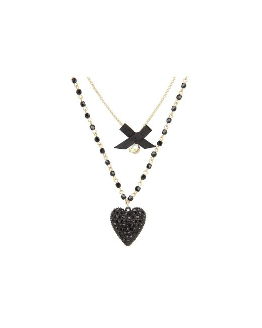 Betsey Johnson | Black Iconic Glitter Heart Two-row Necklace | Lyst