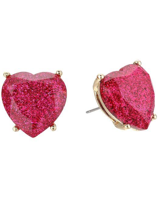 Betsey Johnson - Multicolor Fuchsia Sparkle Heart Stud Earrings - Lyst