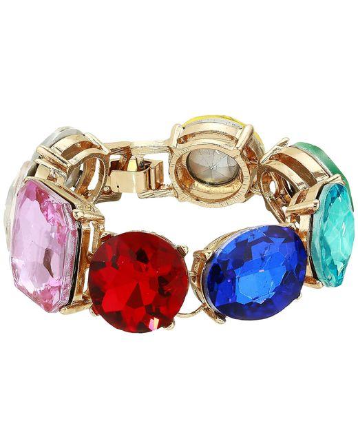 Steve Madden - Metallic Geo Shape Casted Stone Link Bracelet (multicolor/yellow Gold-tone) Bracelet - Lyst