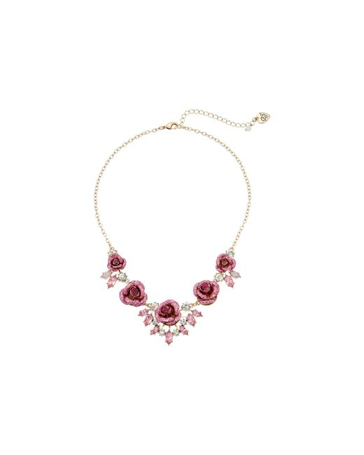 Betsey Johnson - Pink Glitter Rose Necklace Rose - Lyst
