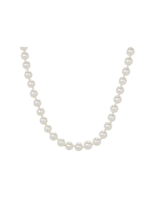 "Lauren by Ralph Lauren | White 16"" 6mm Pearl Foldover Clasp Necklace 