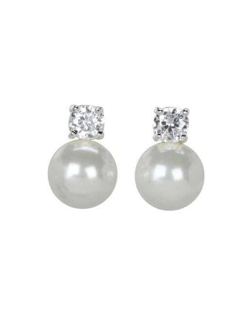 Lauren by Ralph Lauren | White Pearl Button Studs W/cubic Zirconia Stones | Lyst