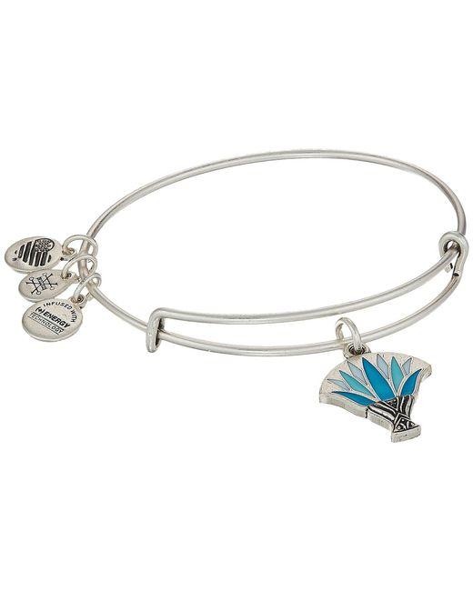 ALEX AND ANI - Metallic Blue Lotus Bangle (rafaelian Silver) Bracelet - Lyst