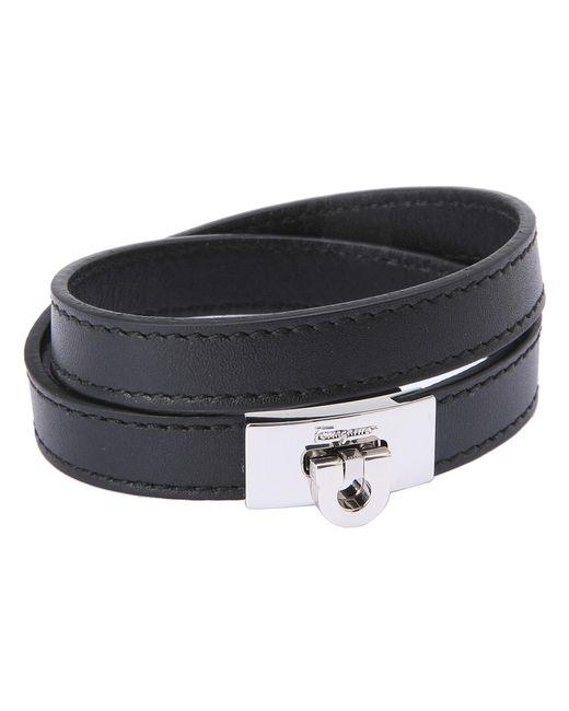 Ferragamo | Black Leather Wrap Bracelet for Men | Lyst