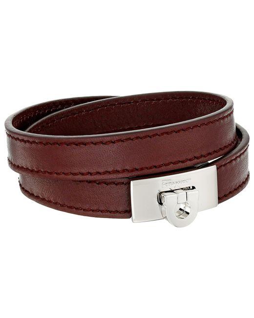Ferragamo - Red Leather Wrap Bracelet for Men - Lyst