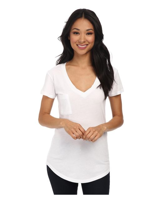 Lamade | White V-pocket Tee - Tissue Jersey | Lyst