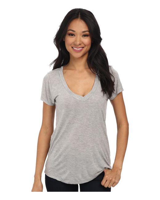 Lamade | Gray Short-sleeve Low V-neck Boyfriend Tee | Lyst