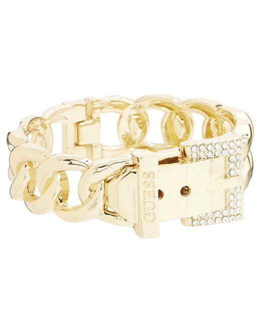 Guess | Metallic Buckle Hinge Frozen Chain Bracelet W/ Pave Accent | Lyst