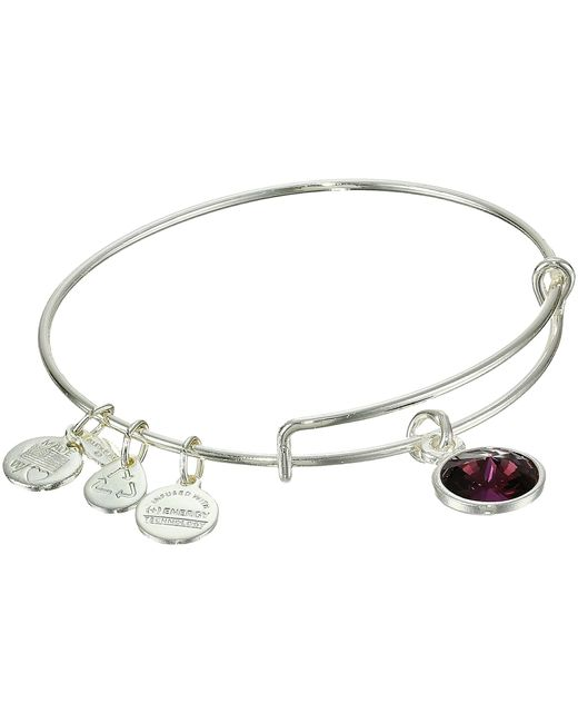 ALEX AND ANI | Metallic February Birthstone Charm Bangle | Lyst