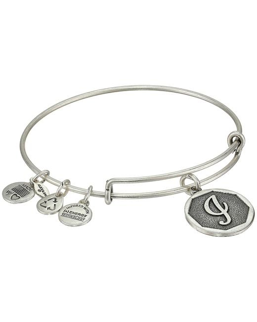 ALEX AND ANI | Metallic Initial I Charm Bangle | Lyst
