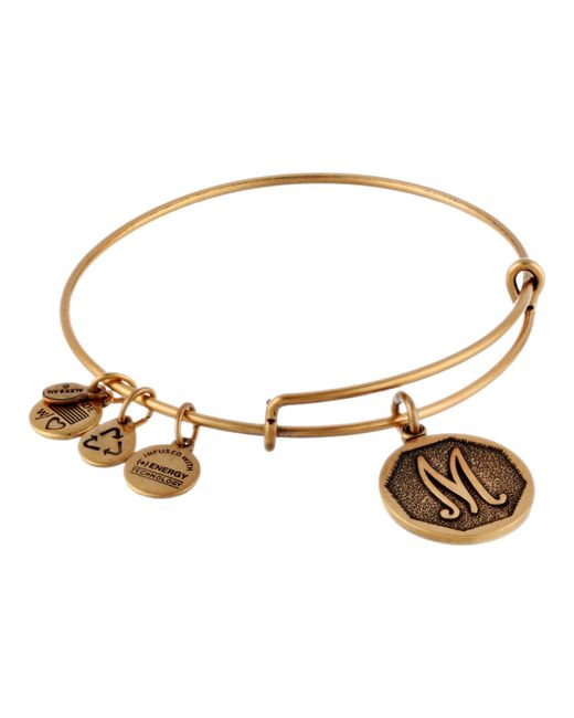 ALEX AND ANI | Metallic Initial M Charm Bangle | Lyst