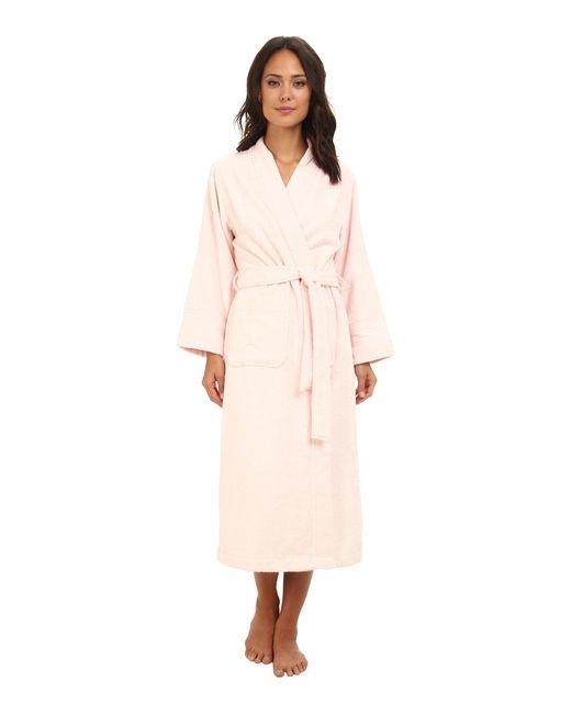 Lauren by Ralph Lauren | Pink Greenwich Woven Terry Long Robe | Lyst