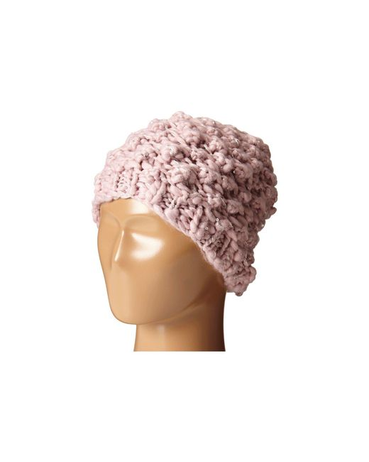 San Diego Hat Company - Pink Knh3352 Chunky Yarn Beanie With Silver Sequin Thread - Lyst