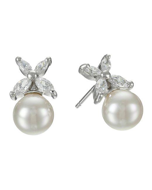 Majorica   Metallic 8mm Pearl W/ Cz Flower Earrings   Lyst