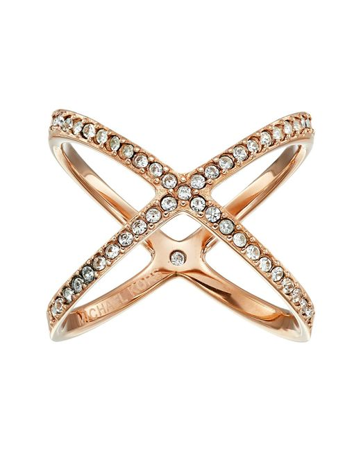 Michael Kors - Pink Brilliance Pave X Ring - Lyst